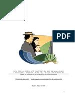 Politica Publica Distrital de Ruralidad