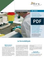 INRS, 2008 Le Point Des Connaissances Sur Le Formaldéhyde