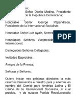 Discurso Canciller Miguel Vargas Acto Inaugural de la Reunión Mundial de la Internacional Socialista