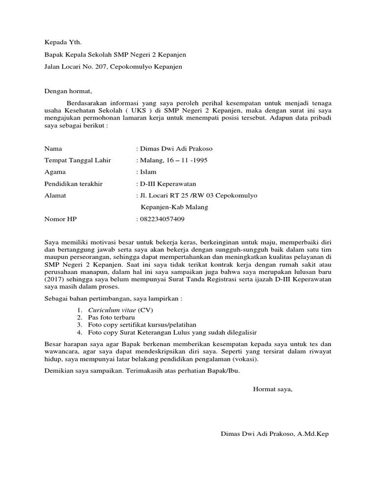 Surat Lamaran Lavaletter