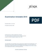 SQA Exam Timetable 2019