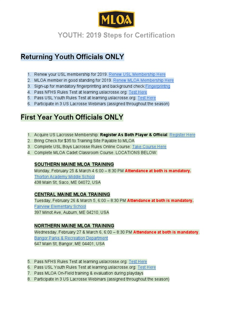Youth 2019 Steps To Mloa Certification