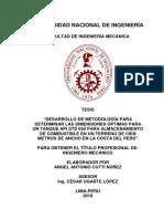DESARROLLO DE METODOLOGÍA PARA DETERMINAR LAS DIMENSIONES ÓPTIMAS PARA UN TANQUE API STD 650 PARA ALMACENAMIENTO DE COMBUSTIBLE EN UN TERRENO DE CIEN METROS DE ANCHO EN LA COSTA DEL PERÚ