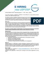 We Are Hiring Staff Scientist USP DSP