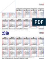 Two Year Calendar 2019 2020 Landscape 2 Rows
