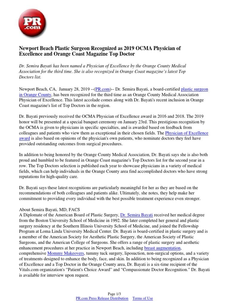 Newport Beach Plastic Surgeon Recognized as 2019 OCMA