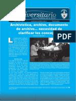 Archivística, archivo, documento de archivo... necesidad de clarificar los conceptos