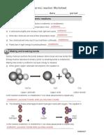 Endothermic and Exothermic Reaction Worksheet Key