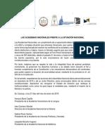 Comunicado Academias Contra Represión 27-01-2019