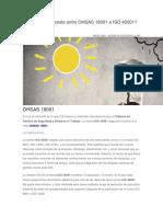 Qué Diferencia Existe Entre OHSAS 18001 e ISO 45001