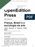 Arte e Vida Social - França, Brasil e a Sociologia Da Arte - OpenEdition Press