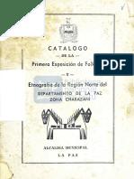 Alcaldía Municipal de La Paz - Catálogo de la primera exposición de folklore y etnografía de la región norte del departamento de La Paz (1953)