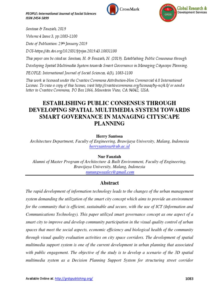 Establishing Public Consensus Through Developing Spatial Multimedia System Towards Smart Governance In Managing Cityscape Planning 3 D Computer Graphics Public Participation