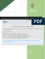 Listas Dias de Pagos Ajuste Retrosalarios 28-01-2019