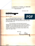 October 24, 1979 Letter to Ralph W. Moss, PhD From Linus Pauling