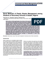 Novel Methods of Plastic Wastes Management among Students of Secondary Schools in Ibadan, Nigeria