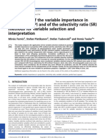 Comparison of the Variable Importance in Projection VIP