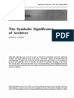 Otoole J. M. (1993) the Symbolic Significance of Archives