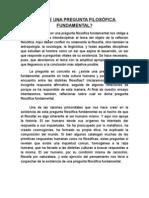 PREGUNTA FILOSÓFICA FUNDAMENTAL