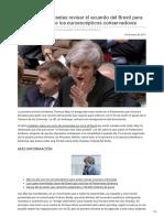 May pedirá a Bruselas revisar el acuerdo del Brexit para lograr el apoyo de los euroescépticos conser