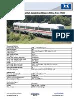 Technical Data High Speed Diesel-Electric Tilting Train VT605
