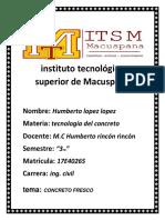 Concreto Fresco Unidad 4..tecnologico superior de macuspana