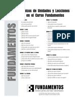 Topicos de Unidades y Lecciones en El Curso Fundamentos Mexican Spanish