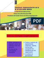 Clima Organizacional Implementación de la R. M. Nº 623-2008 MINSA