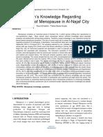 Womens Knowledge Regarding Symptoms of Menopause in Al Najaf City