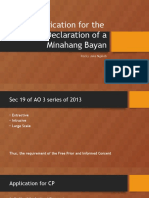 Application for the Declaration of a Minahang Bayan