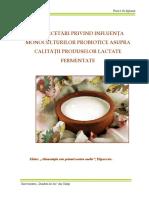 Cercetari Privind Influenta Monoculturilor Probiotice Asupra Calitatii Produselor Lactate Fermentate