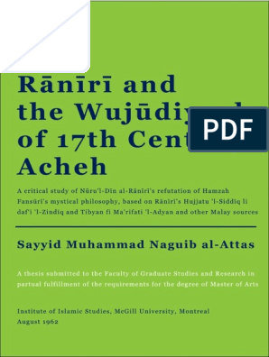 307397010 Raniri And The Wujudiyyah Of 17th Century Acheh Pdf