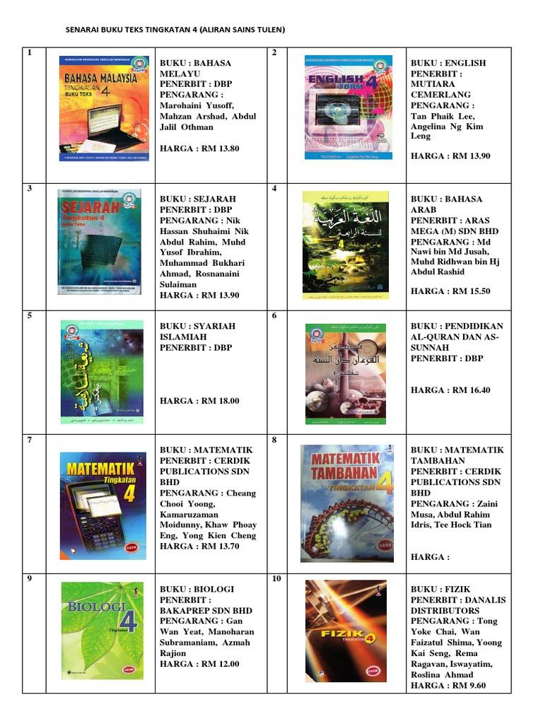 Senarai Buku Teks Ting 4 Sains Tulen 2018