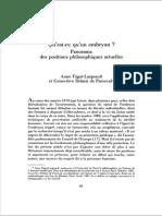 """Anne Fagot-Largeault y Genevieve Delaisi de Parseval, """"Qu'est-ce qu'un embryon? Panorama des positions philosophiques actuelles"""", en Esprit, Junio 1989, n° 151, pp. 86-120"""