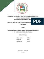Proyecto Final Evaluación y Pruebas de Sistemas Mecánicos