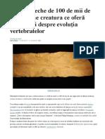 O Fosilă Veche de 100 de Mii de Ani Conţine Creatura Ce Oferă Informaţii Despre Evoluţia Vertebratelor