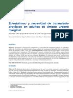 Edentulismo y necesidad detratamiento protésico en adultos de ámbito urbano marginal.