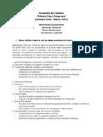 Acuerdos de Temario - Primera Fase Congresal