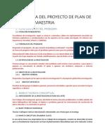 Estructura Del Proyecto de Plan de Tesis Para Maestria