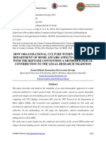 How Organisational Culture Within Australia's Department of Home Affairs Affects Compliance With the Refugee Convention