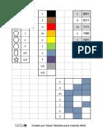 Tablas de conversiones de figuras, matrices y únermos binarios
