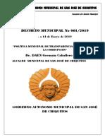 """Decreto Municipal Nº 001-2019 """"Política Municipal de Transparencia y Lucha Contra La Corrupción"""""""