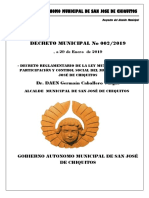 Decreto Municipal Nº 002-2019 Reglamentario de La Ley Municipal No 05 de Participaión y Control Social Del Municipio