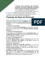 Tipología Sales Schussler