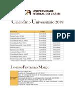 Calendário Universitário 2019