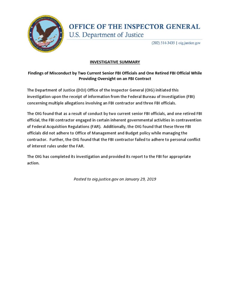 DOJ OIG Findings of Misconduct by Two Current Senior FBI Officials