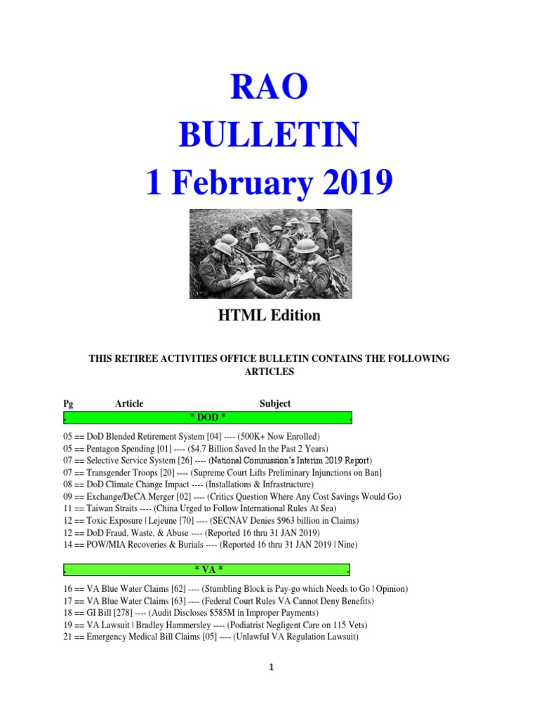 Bulletin 190201 (HTML Edition) | United States Department Of