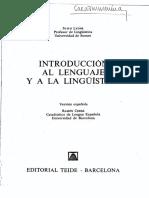 John Lyons - Introducción Al Lenguaje y a La Lingüistica