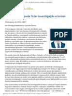 ConJur - Advogado Não Pode Fazer Investigação Criminal Defensiva