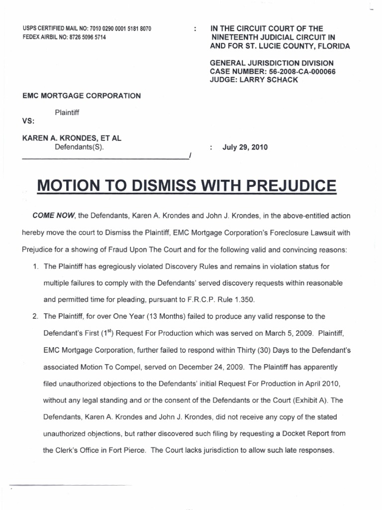 motion to dismiss with prejudice template - 28 images - motion to ...